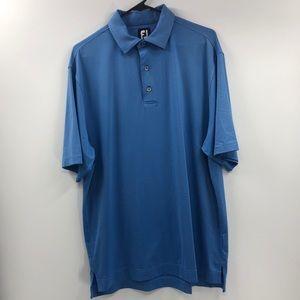 FootJoy Blue Pinstriped Golf Polo 3 Button Size L